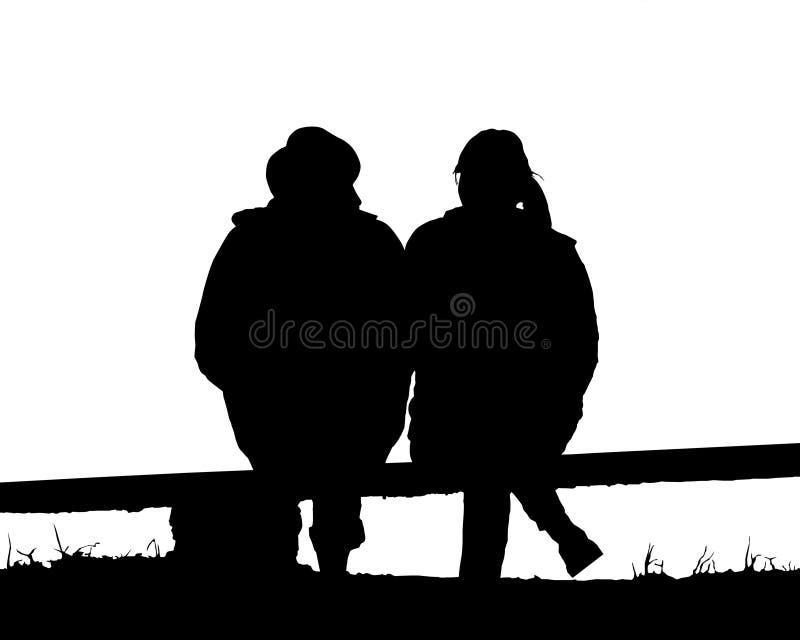 De liefdezitting van het silhouetpaar op bank stock illustratie