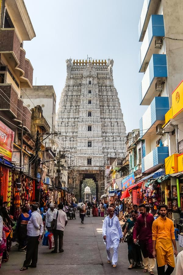 De liefhebbers bezoeken Sri Govinda Raja Swamy Temple, Tirupati, India royalty-vrije stock foto