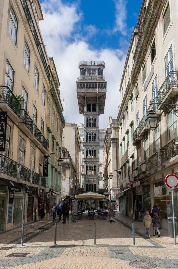 De Lift van Justa van de kerstman in Lissabon, Portugal royalty-vrije stock afbeelding