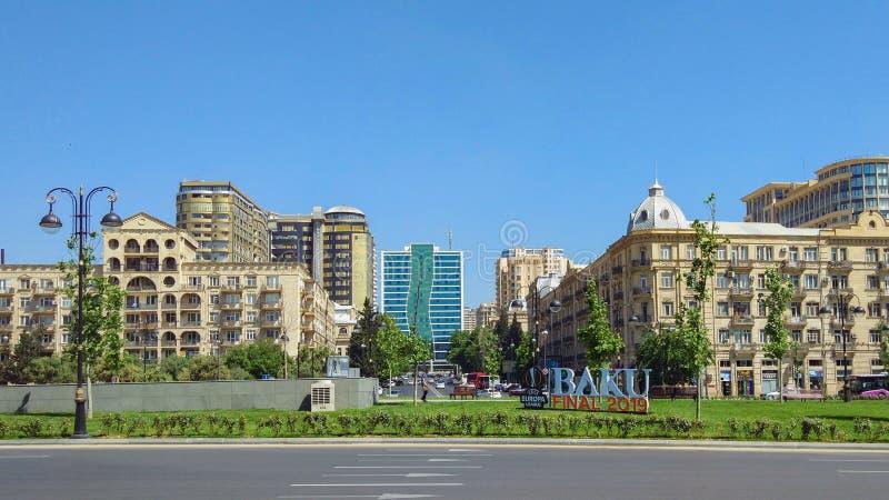 De ligaaanplakbord van UEFA Europa op een stadsstraat, Baku, Azerbeidzjan stock foto's