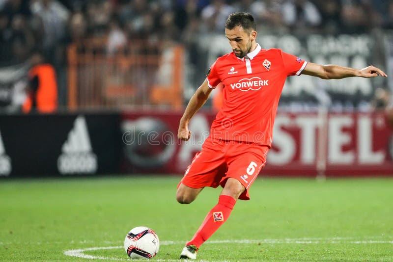 De Ligagelijke van UEFA Europa tussen PAOK versus ACF Fiorentina royalty-vrije stock afbeeldingen