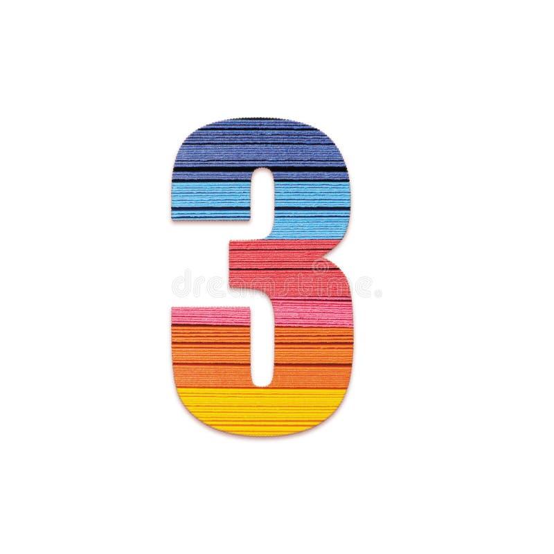 De ligstoelen van het aantal 3 Het document van de regenboogkleur stock foto's