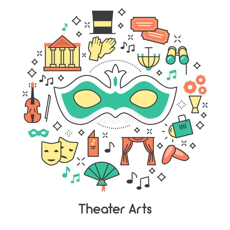 De Lijn Art Outline Icons Set van theaterkunsten met Masker en Verrekijkers royalty-vrije illustratie