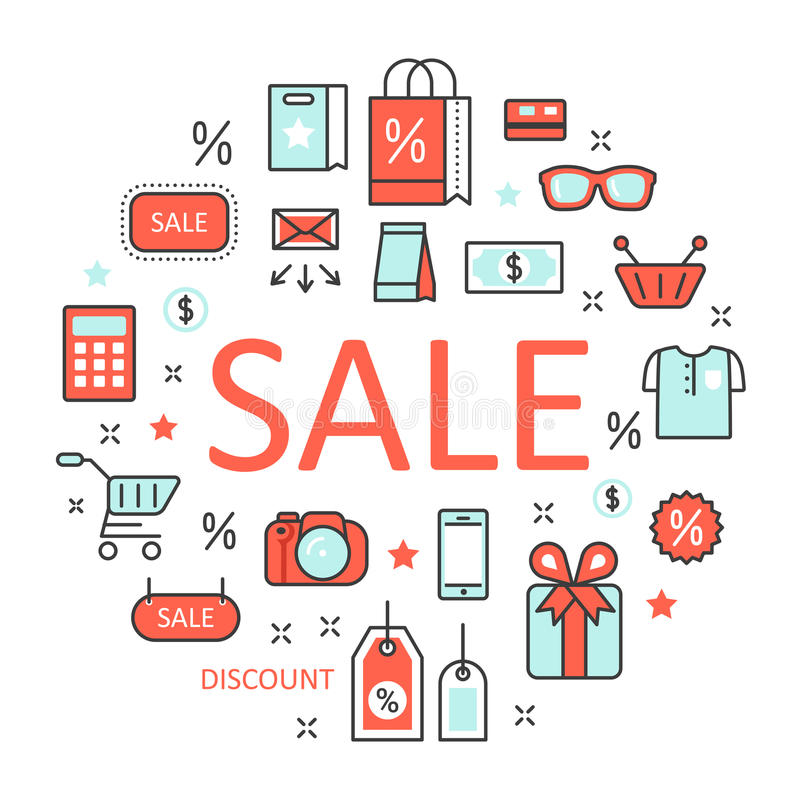De Lijn Art Thin Icons Set van de verkoopkorting met het Winkelen Elementen royalty-vrije illustratie