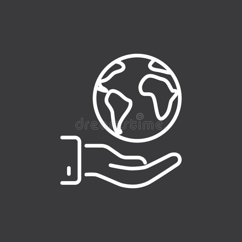 De lijn bewaart wereld, aarde in hand pictogram op donkere achtergrond stock illustratie
