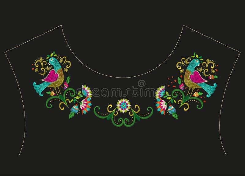 De lijn bloemenpatroon van de borduurwerk kleurrijk etnisch hals royalty-vrije illustratie