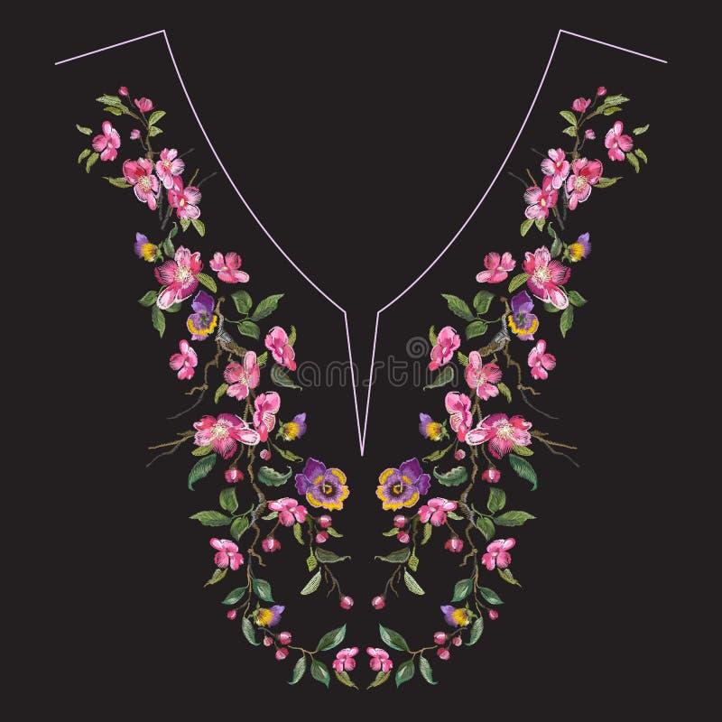 De lijn bloemenpatroon van de borduurwerkhals met oosterse kersenbloesem stock illustratie