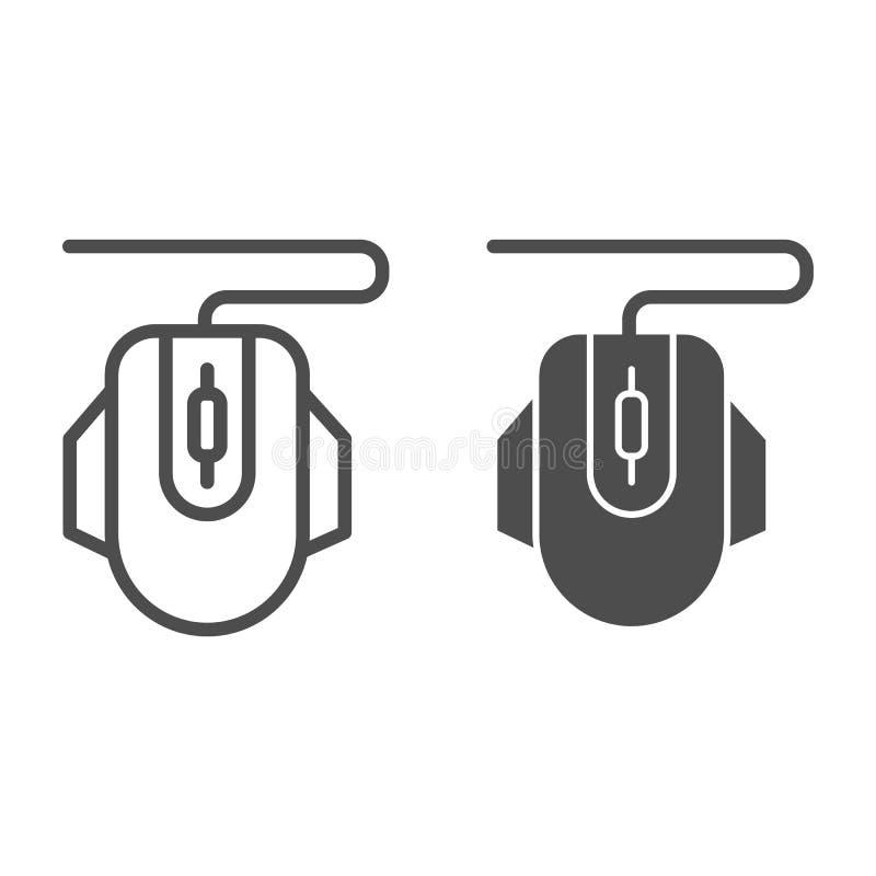 De lijn en glyph het pictogram van de computermuis Klik vectordieillustratie op wit wordt geïsoleerd Het de stijlontwerp van het  vector illustratie