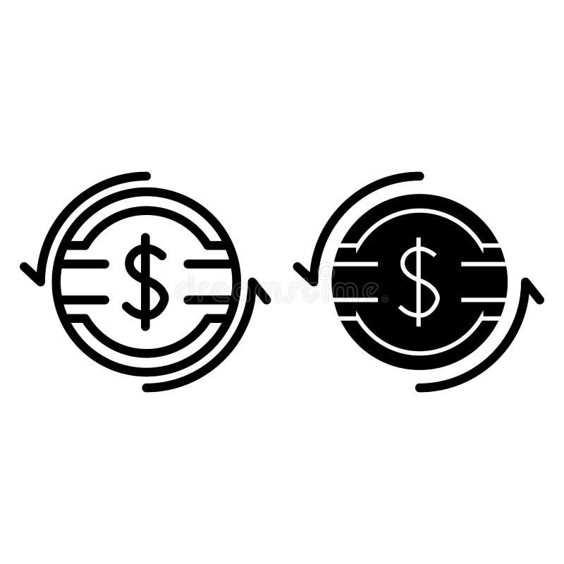 De lijn en glyph het pictogram van het dollartarief Dollarmuntstuk met pijlen vectordieillustratie op wit wordt geïsoleerd Het ov royalty-vrije illustratie