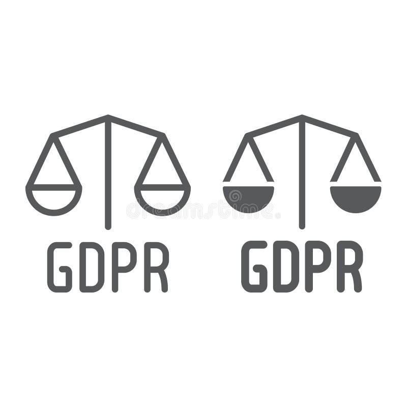 De lijn en glyph het pictogram van Gdprlibra, privacy en veiligheid, gdpr wettigheidsteken, vectorafbeeldingen, een lineair patro vector illustratie