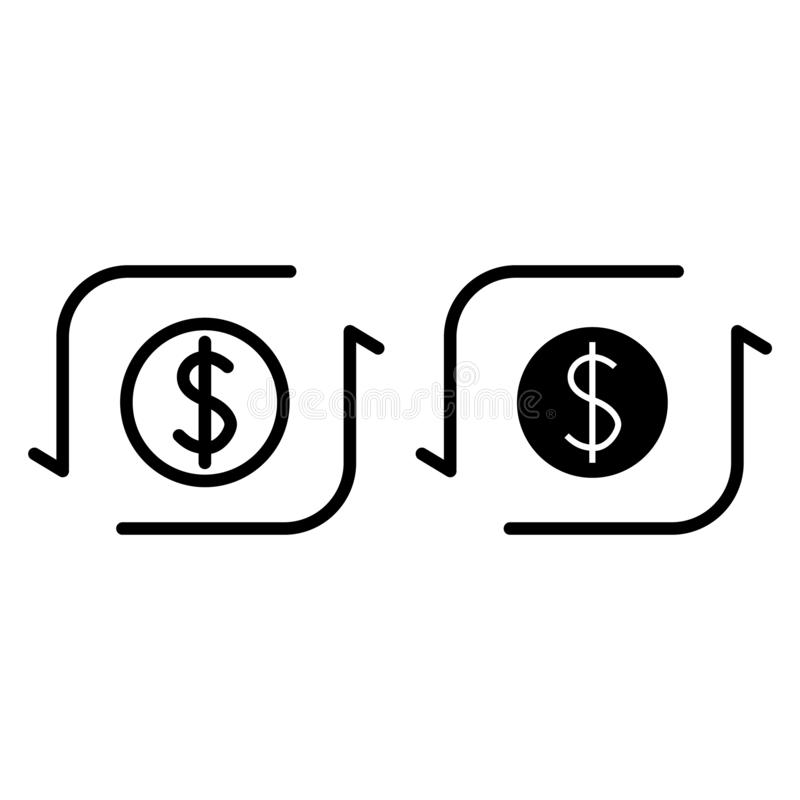 De lijn en glyph het pictogram van de geldoverdracht Dollarteken met pijlen vectordieillustratie op wit wordt geïsoleerd Dollarui royalty-vrije illustratie