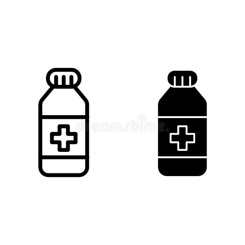 De lijn en glyph het pictogram van de geneeskundefles Geneesmiddel vectordieillustratie op wit wordt geïsoleerd De stijlontwerp v royalty-vrije illustratie