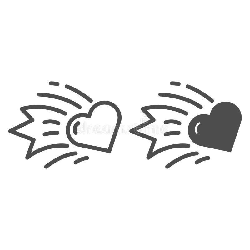De lijn en glyph het pictogram van de hartkomeet De dalende vectordieillustratie van het sterhart op wit wordt geïsoleerd De ster royalty-vrije illustratie