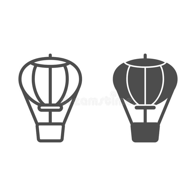 De lijn en glyph het pictogram van de hete luchtballon Luchtvervoer vectordieillustratie op wit wordt ge?soleerd De stijlontwerp  royalty-vrije illustratie