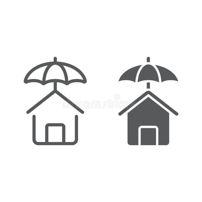 De lijn en glyph het pictogram van de huisbescherming royalty-vrije illustratie