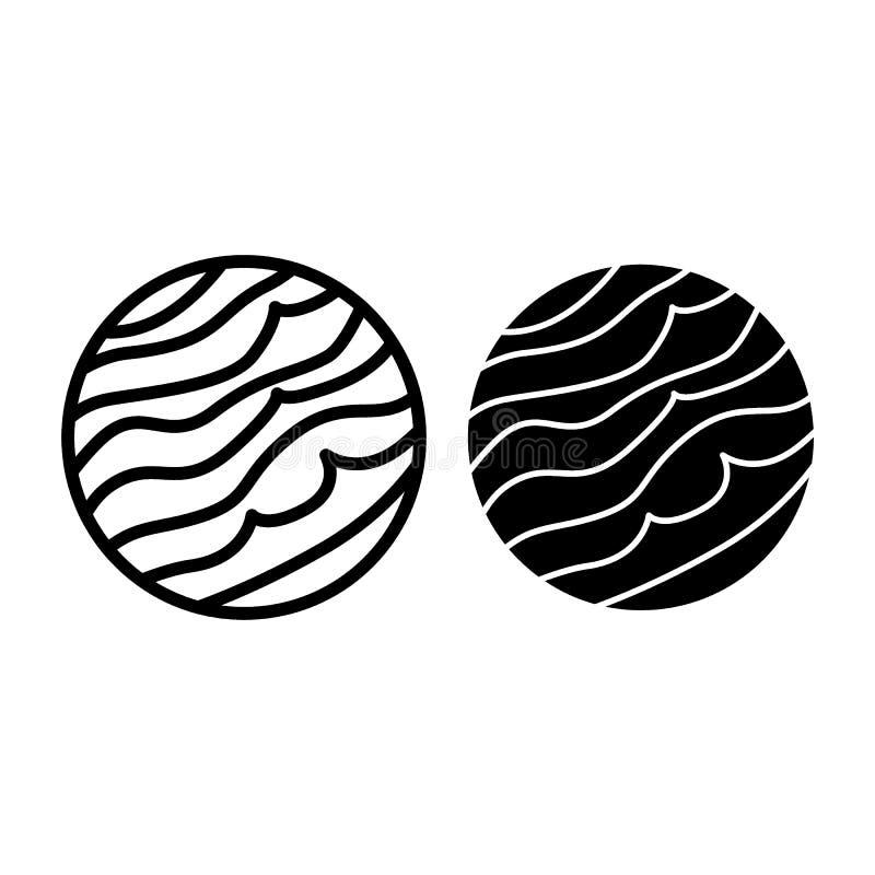 De lijn en glyph het pictogram van Jupiter Jove vectordieillustratie op wit wordt geïsoleerd De stijlontwerp van het planeetoverz royalty-vrije illustratie