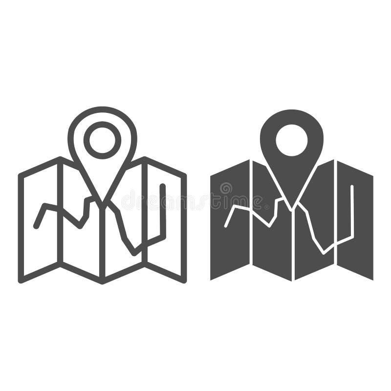 De lijn en glyph het pictogram van de kaartplaats Kaart met speld vectordieillustratie op wit wordt ge?soleerd De stijlontwerp va royalty-vrije illustratie