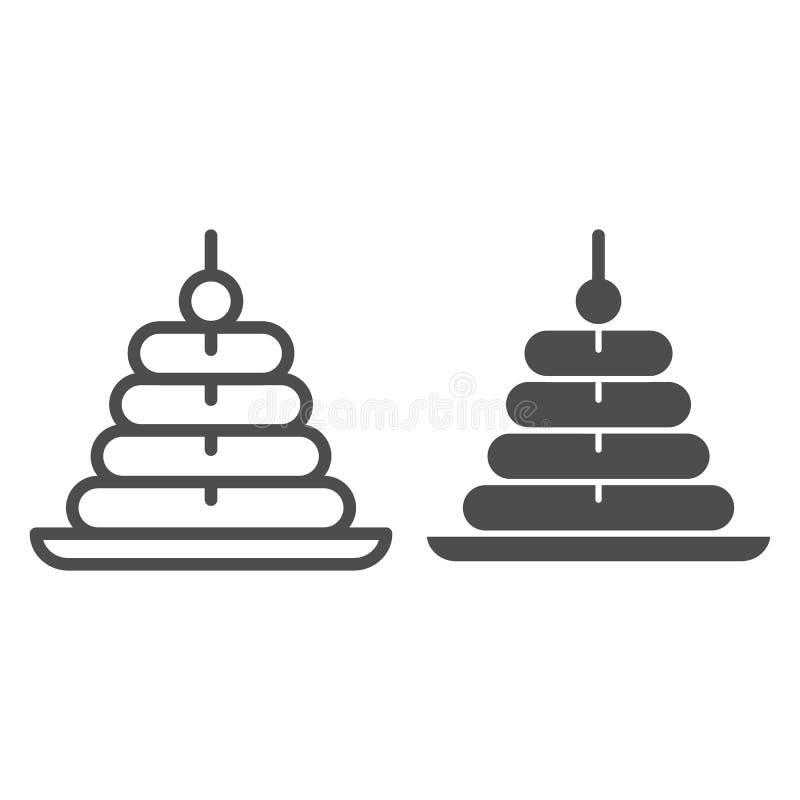 De lijn en glyph het pictogram van de kinderenpiramide Stuk speelgoed piramide vectorillustratie die op wit wordt geïsoleerd Jong vector illustratie
