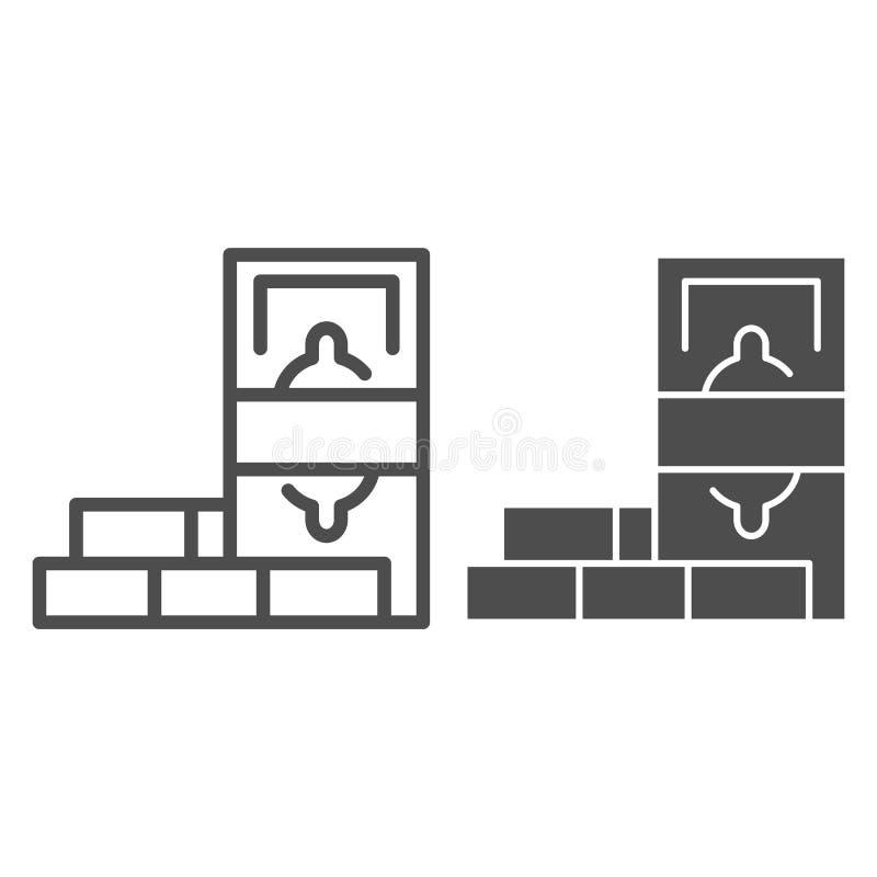 De lijn en glyph het pictogram van muntbesparingen Dollar en bakstenen vectordieillustratie op wit wordt geïsoleerd Het overzicht royalty-vrije illustratie