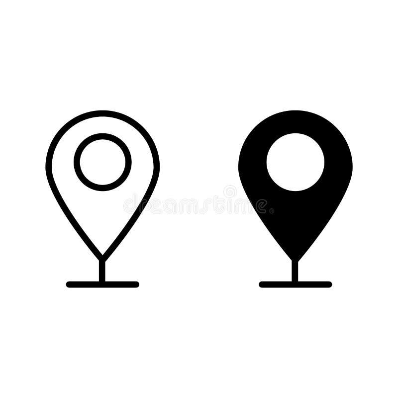 De lijn en glyph het pictogram van het plaatsteken Gps speld vectordieillustratie op wit wordt geïsoleerd Het ontwerp van de het  stock illustratie