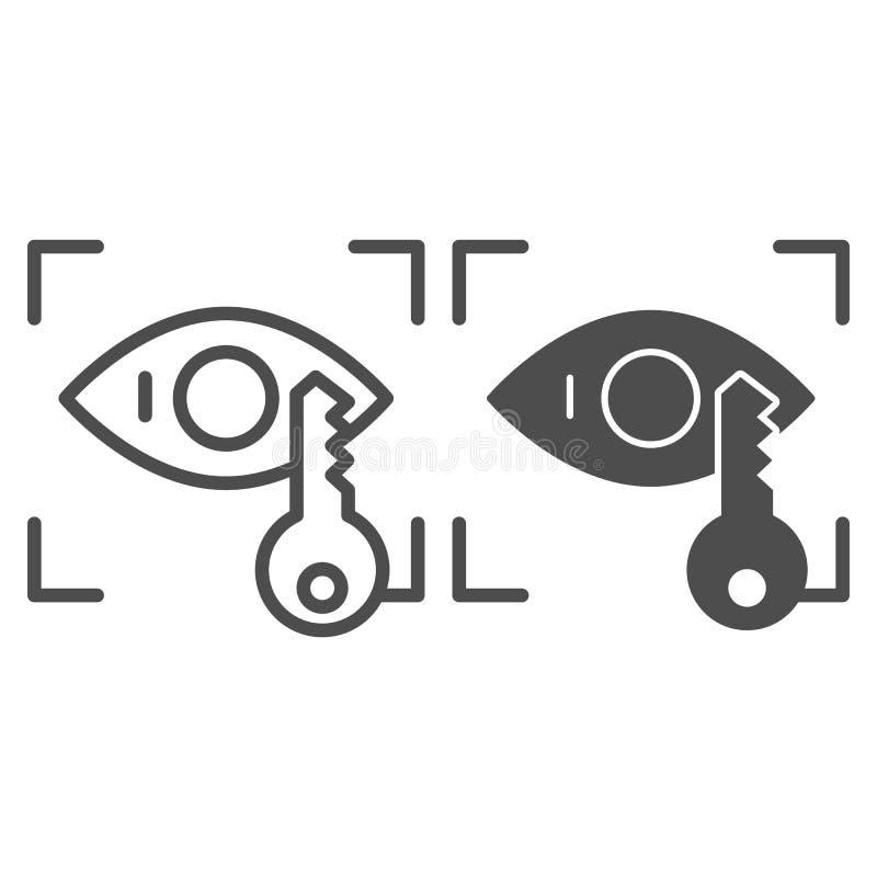 De lijn en glyph het pictogram van de retinaerkenning Oogidentificatie en zeer belangrijke vectordieillustratie op wit wordt geïs vector illustratie