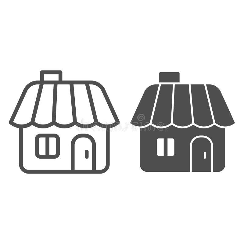 De lijn en glyph het pictogram van het de winterhuis De vectordieillustratie van het peperkoekhuis op wit wordt geïsoleerd Het ov royalty-vrije illustratie