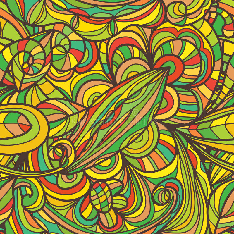 De lijn naadloos patroon van de bladbloem stock illustratie