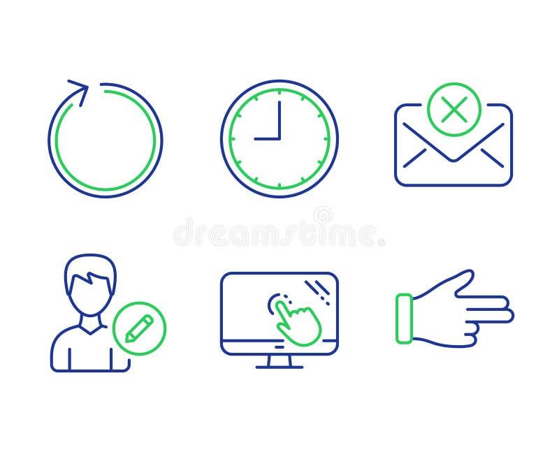 De lijn, Tijd en geeft geplaatste persoonspictogrammen uit De weigeringspost, Touch screen en klikt handtekens Vector royalty-vrije illustratie