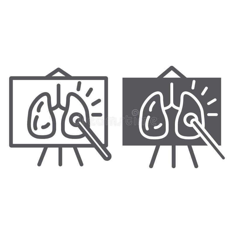 De lijn van de anatomieles en glyph pictogram, school en bord, het teken van de anatomieklasse, vectorafbeeldingen, een lineair p stock illustratie