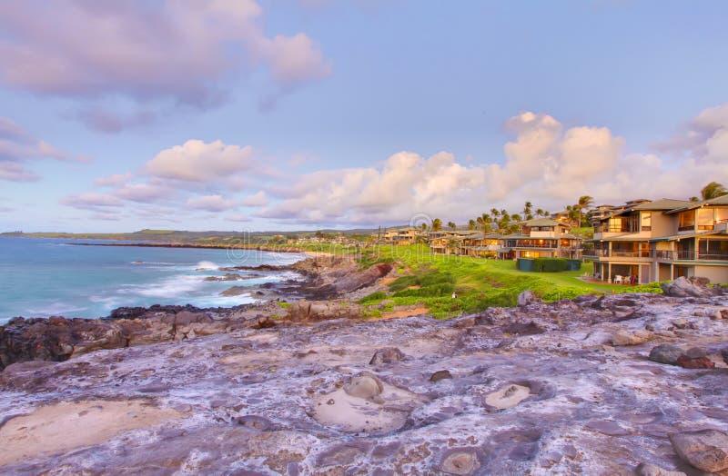 De lijn van de de klippenkust van Maui van het eiland met vakantiehuizen. royalty-vrije stock foto