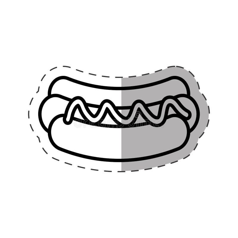 de lijn van de het stadionbesnoeiing van het hotdog snelle voedsel vector illustratie