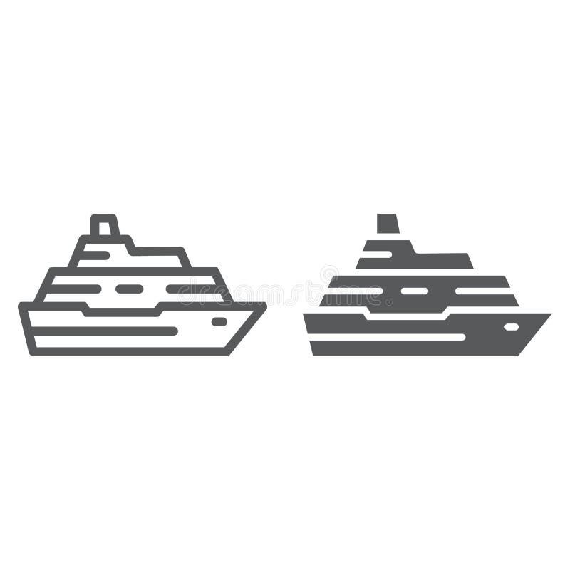 De lijn van het cruiseschip en glyph pictogram, reis en toerisme, de vectorafbeeldingen van het bootteken, een lineair patroon op stock illustratie