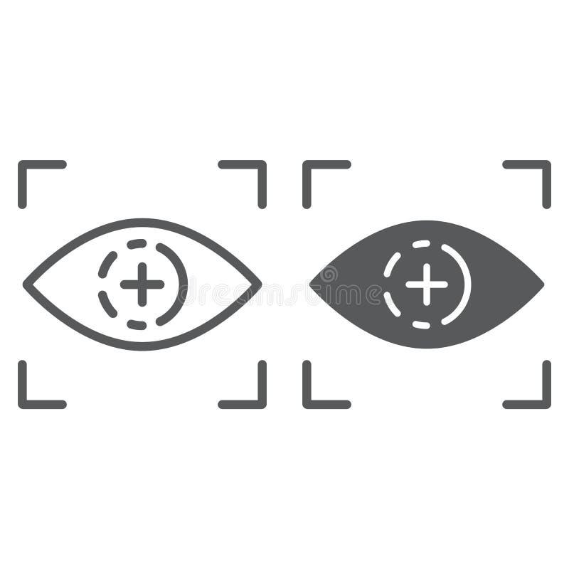 De lijn van het oogaftasten en glyph pictogram, toegang en identificatie, het teken van het retinaaftasten, vectorafbeeldingen, e royalty-vrije illustratie