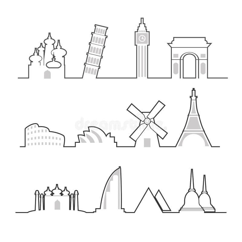 De lijn van het oriëntatiepuntpictogrammen van de reisplaats stock illustratie