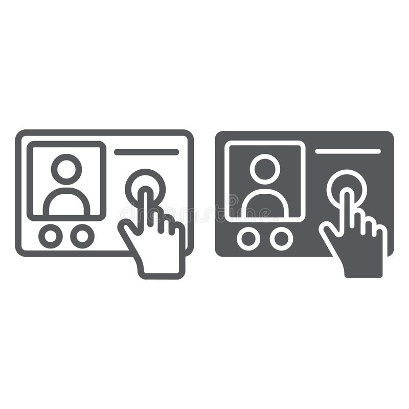 De lijn van de intercomtelefoon en glyph pictogram, mededeling en elektronisch, telefoonteken, vectorafbeeldingen, een lineair pa stock illustratie