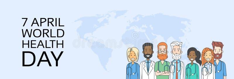 De Lijn van medische Artsenteam group health day thin vector illustratie