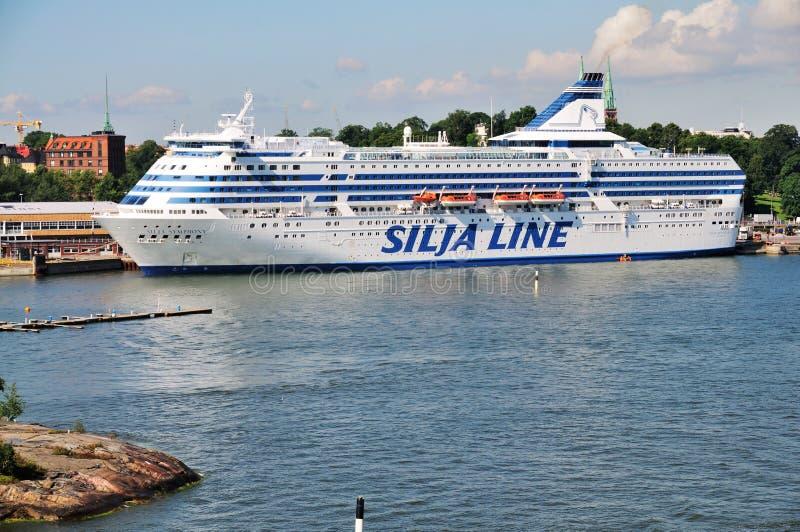 De Lijn van Silja in de Haven van Helsinki, Finland. royalty-vrije stock foto