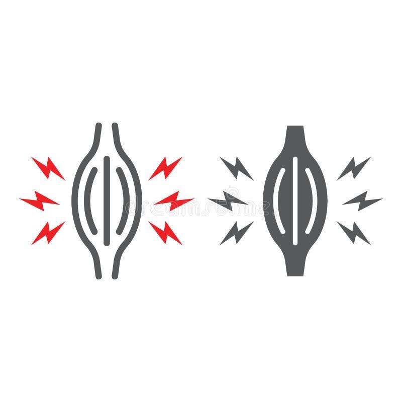 De lijn van de spierpijn en glyph pictogram, lichaam en zieken, het teken van de spierpijn, vectorafbeeldingen, een lineair patro stock illustratie