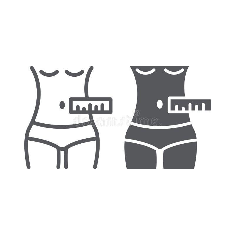 De lijn van de taillemeting en glyph pictogram, kleermaker en maatregel, vrouwelijk lichaam die teken, vectorafbeeldingen, een li royalty-vrije illustratie