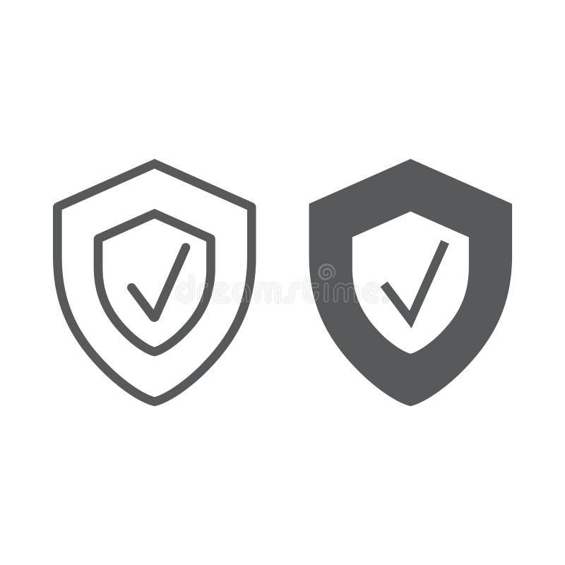 De lijn van de veiligheidsstatus en glyph pictogram, veiligheid vector illustratie