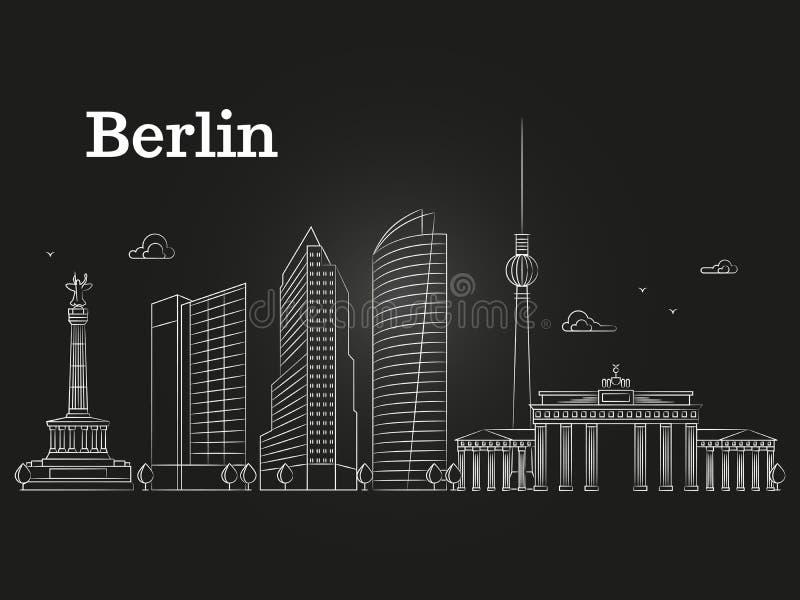 De lijn vectorlandschap van Duitsland Berlijn, stads panoramische huizen vector illustratie