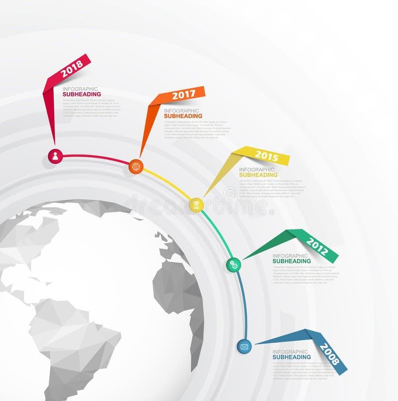 De lijn vectormalplaatje Infographic van de startmijlpalentijd vector illustratie