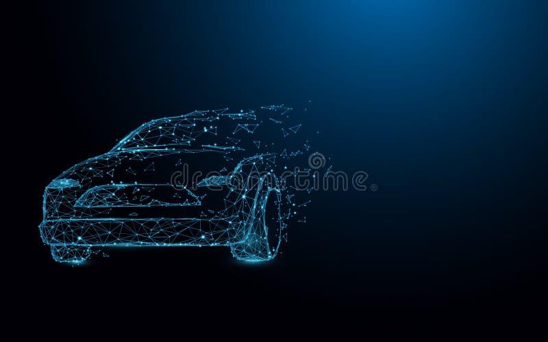 De lijnen van de autovorm, driehoeken en het ontwerp van de deeltjesstijl vector illustratie
