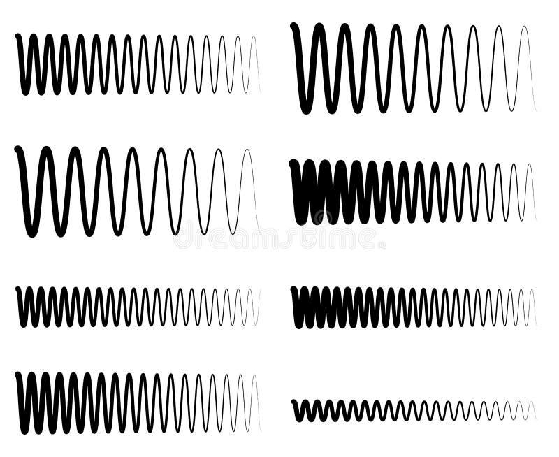De lijnen van de golvende, zigzageq equaliser Omvang, soundwave, frequentie stock illustratie