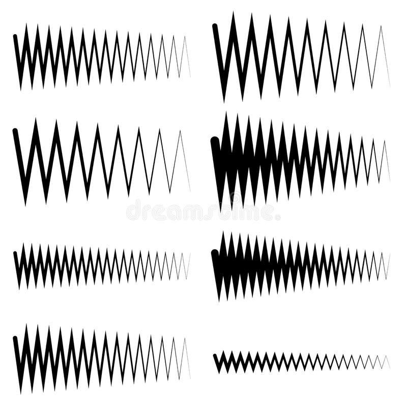 De lijnen van de golvende, zigzageq equaliser Omvang, soundwave, frequentie royalty-vrije illustratie