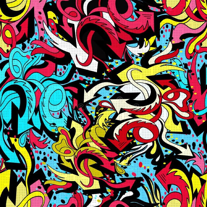 De lijnen van de kleurengraffiti op een blauwe achtergrond naadloze patroon vectorillustratie royalty-vrije illustratie