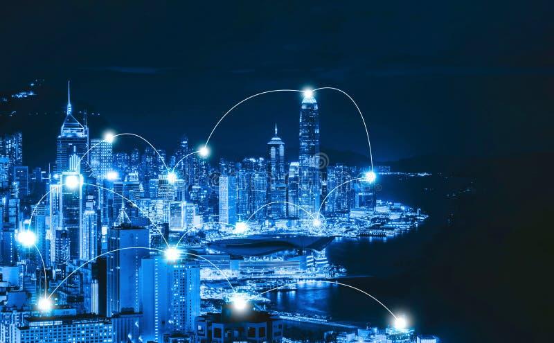 De lijnen van de digitaal netwerkverbinding van Hong Kong Downtown en Victo royalty-vrije stock afbeelding
