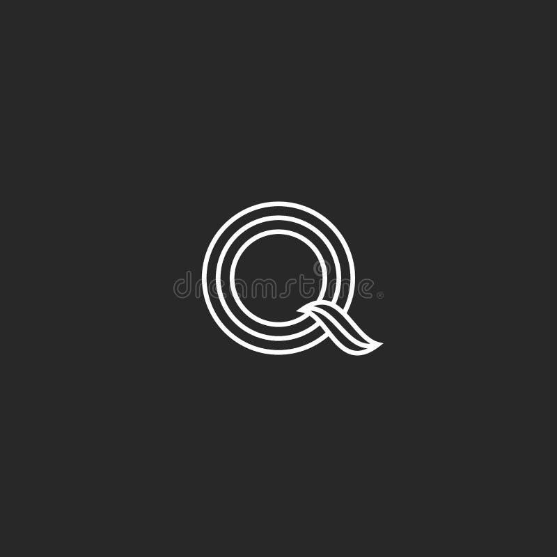 De lijnen verdunnen de brievenmonogram van het ontwerpembleem Q Het vrouwelijke element van het de typografie in ontwerp van het  royalty-vrije illustratie