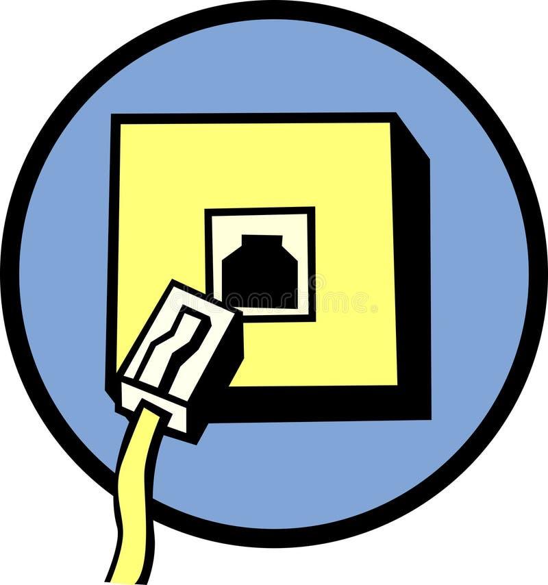 De lijnhefboom en kabel van de telefoon stock illustratie