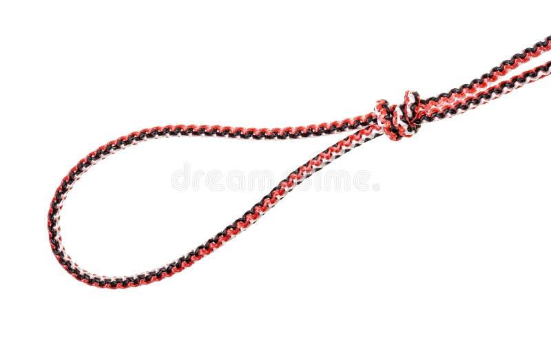 De lijnknoop van de visser op synthetische kabel wordt gebonden die royalty-vrije stock afbeelding